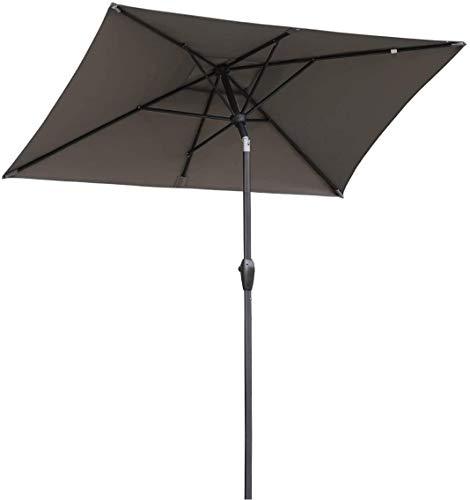 HLLL 2.1X1.4M Sonnenschirme Sonnenschirm Aluminium Sonnenschirm Markt Regenschirm Gartenschirm Sonnenschirm Sonnenschutz UV 50+ Rechteckig (Grau),Grau