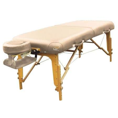 """Vedalux Portable Massage Table Package by NRG - Folding, Lightweight Massage Therapy Table - Face Cradle with 3"""" Memory Foam Face Rest Pad, Hanging Armrest, and Carrying Case - Color Vanilla Cream"""