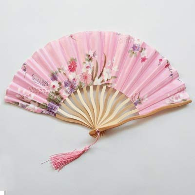 XKMY Abanico de mano con patrón de abanicos de seda de bambú plegable de mano para iglesia, boda, ventilador de mano de bambú fresco personalizado (color: rosa)