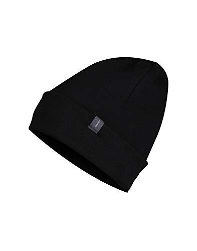 Dilling Mütze aus Wollfrottee - 100% Bio-Merinowolle Schwarz