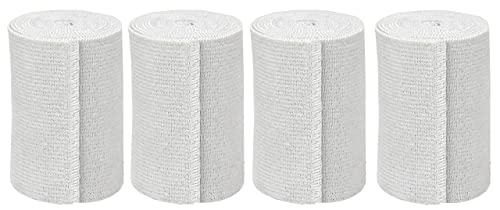 GT USA Organic Cotton Soft Woven White (3' Width, 4 Pack) | Cotton Elastic Bandage Wrap | Latex Free | Hook & Loop Fastener at One End | Hypoallergenic Compression Roll for Sprains & Injuries
