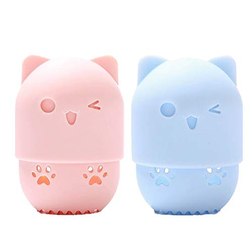 2 Pcs Makeup Sponge Silicone Travel Case Silicone Makeup Sponge Holder Travel Case Cute Cat Shape Cosmetic Sponge Drying Holder Rack Washable & Reusable Makeup Blender Container for Home