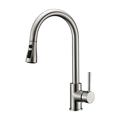 Brushed Nickel 304 Stainless Steel with Solid Brass Modern Commercial Single Handle Single Hole Pull Down Sprayer Kitchen Tap,Swivel Sprayer Mixer Tap Provided Delle Rosa