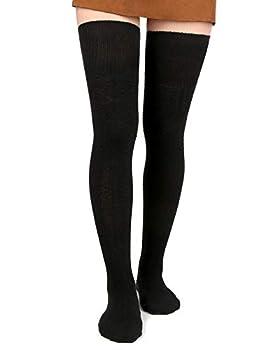 Women Thigh High Socks Black Over the Knee Leg Warmer Girls Tall Long Stockings 1 Pack