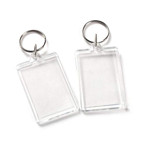 10Pcs Rectangle Clear Acrylic Photo Snap-in Keychain Blank Double Sided Custom Personalised Photo Insert Picture Frame Keychain Keyring Holder(1.1 x 1.7 in)