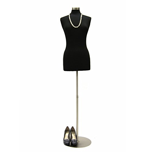 (JF-F6/8BK+BS-04) Size 6-8 Premium Black Female Fully Pinnable Mannequin Dress Form with Round Brushed Metal Base and Top.