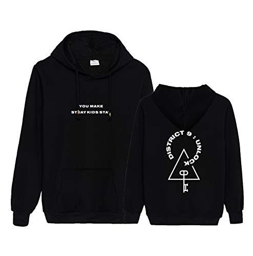 Xkpopfans Kpop Stray Kids Hoodie Pullover District 9 Unlock Felix Changbin Woojin Sweatshirt S Black B