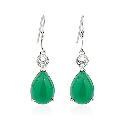 100% S925 Pendiente de plata Joyería de piedras preciosas de esmeralda natural real para mujeres Pendientes de gota de joyería de plata 925