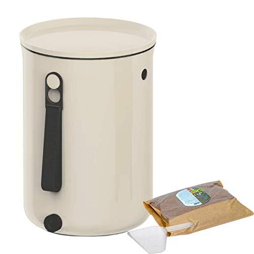Skaza Bokashi Organko 2 (9.6 L) | Primé Composteur de Cuisine en Plastique Recyclé | Starter Set pour Les Déchets de Cuisine et Le Compostage | avec Activateur de Fermentation 1 kg (Blanc-Crème)
