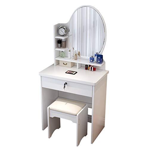 HYE-Table Juego de tocador Blanco para el hogar, Mini apartamento pequeño, Escritorio con tocador y Espejo Grande, para Muebles de Dormitorio para Mujeres