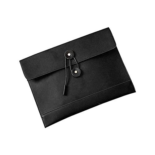 Costowns 本 革ブリーフケースA4 大きめセカン ドバッグ メンズ レディース バッグ 手持ち バッグ A4サイズ 13.3インチ ipadair 収納可 ビジネス 封筒袋 資料ケースct-15 (黒)