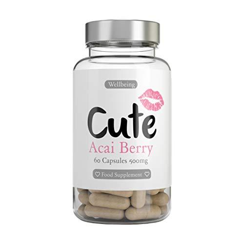 CUTE NUTRITION® Acai Beeren Kapseln Natürlich Abnehmen   60 Stk   Ballaststoffe Eisen Vitamine   Aminosäuren Antioxidantien   GVO-frei