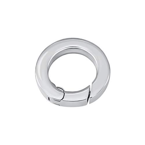Quiges Clip Ring Carrier Silber 17 mm Edelstahl Verbindungsring für Kette und Coin Anhänger mit Karabiner Haken Verschluss