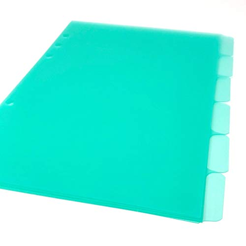 A5 Filofax Tab Divider Inserts, Set of 6 Punched Ready for The A5 Filofax Style Planner, Made from 500 Micron Polypropylene - Green A5