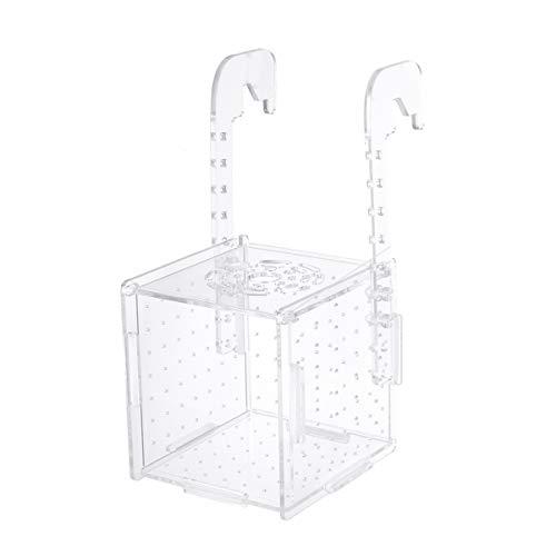 POPETPOP Scatola di Isolamento per Allevamento di Pesci Scatola di incubazione per acquari incubatrice scatole da cova Scatola per Acquario Multifunzionale 10 * 10 * 11 cm (Modello a Gancio)