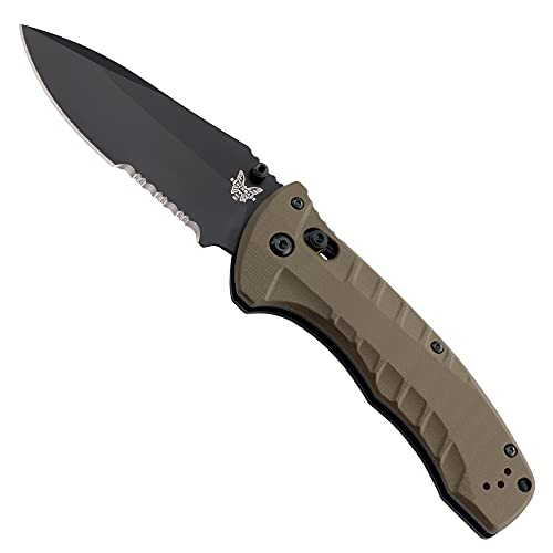 Benchmade - 980SBK Turret Knife, Drop-Point Blade, Serrated Edge, Olive Drab G10 Handle