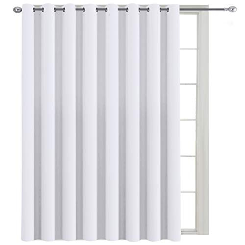 H.VERSAILTEX Blackout Patio Curtains 100 x 108 Inches for Sliding Door Extral Wide Blackout Curtain Panels Thermal Insulated Room Divider - Grommet Top, 9' Tall by 8.5' Wide - White