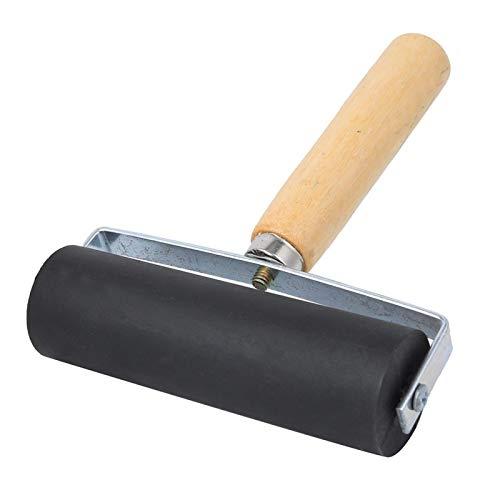 Gummidruckwalze Schwarz Abnehmbarer Holzgriffdruck Art Craft Tool Supplies L für einfache Reinigung, leicht und stark
