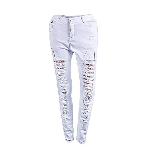 KXDNZK ZKKXDN damesjeans, gestreept, modieus, smal, hoge taille, jeans, wit en zwart