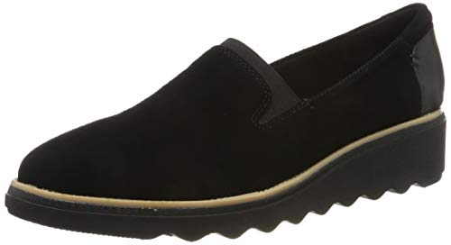 Clarks Damen Sharon Dolly Slipper, Schwarz(Black Sde), 42 EU
