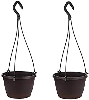 Hanging Pot / Planter for Balcony Home Garden with Suitable Tray Grey Color - Pack of 2 ( Coffee Brown)