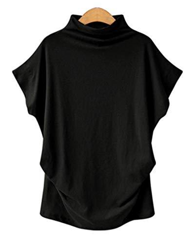 [モルクス] #87 tシャツ ティーシャツ ティシャツ カットソー トップス フレンチ キモノスリーブ 平袖 半袖 オフ ハイネック 折り返し クラシカル ナチュラル 通勤 お呼ばれ 大きめサイズ ママ スタイリッシュ ギャル マタニティ ダボっと ゆったり コットン セレブ ライン 着痩せ デート 授乳 夏用 綿 黒色 黒 くろ クロ black ブラック れでぃーす レディス レディース (黒 3XL)
