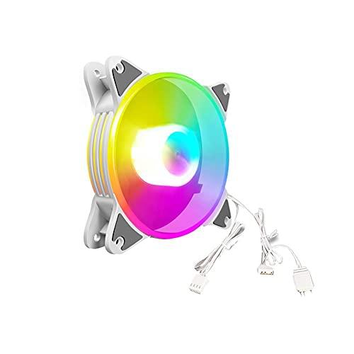 Ventilador silencioso premium, optimizado por presión, motor silencioso, COOLMOON 12cm 5V PWM Ventilador de refrigeración para PC de escritorio ARGB CPU Radiador (blanco)