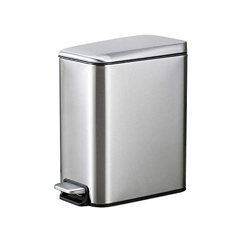 YCTEC Small Stainless Steel Trash Can with Lid Soft Close, Removable Inner Wastebasket, Rectangular Slim Step Trash Can for Bathroom Bedroom Office, Anti-Fingerprint Brushed Finish, 5L/1.3Gal, Silver