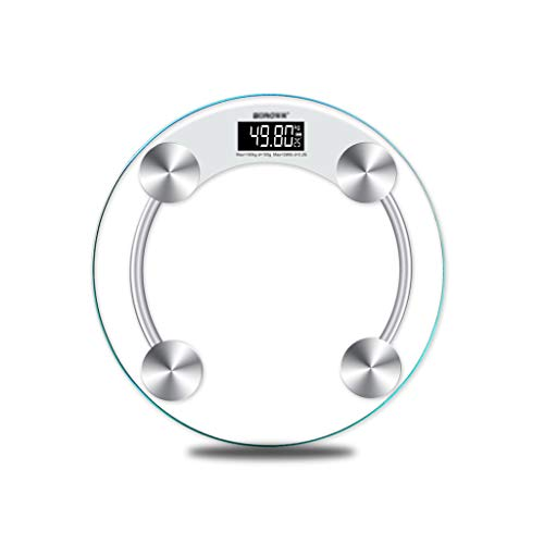 BingWS Digitale personenweegschaal, digitaal, ultradun, rond, van gehard glas en sensoren, hoge precisie, lichaamsgewicht, diagnose en gezondheid