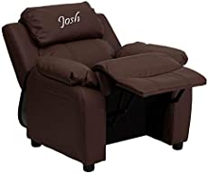 Flash Furniture Personalized Deluxe Kid's Recliner Upholstery: Brown Leather