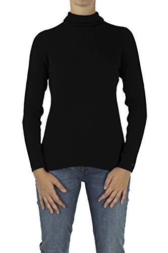 Tommy Hilfiger Langarm Rollkragenpullover ERCA Zierstrick schwarz Größe XL