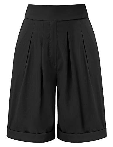 Femme Cargo Shorts Vintage Taille Haute Loose Ample Pantalon Court Bermudas Shorts de Sports Yoga Plage Ete Noir M CL417-1