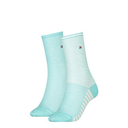 Tommy Hilfiger Womens Summer Stripe Women's (2 Pack) Socks, Mint Combo, 39/42