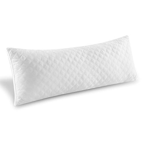 """Oubonun Premium Adjustable Loft Quilted Body Pillows - Hypoallergenic Fluffy Pillow - Quality Plush Pillow - Down Alternative Pillow - Head Support - Pain Relief Pillow - 21""""x54"""""""