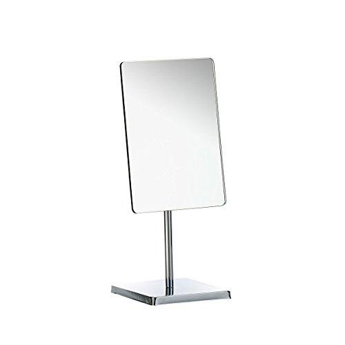 axentia Kosmetikspiegel Silber-Spiegel mit Standfuß-Schminkspiegel rechteckig-Tischspiegel mit Fuß fürs Bad
