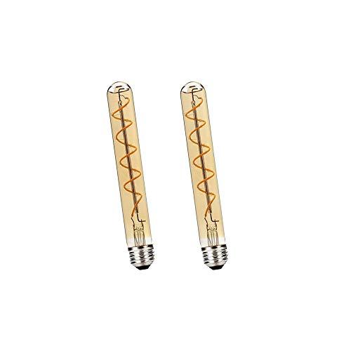 BAISHICHENG 2 Paquetes T30 E27 Bombilla LED Tubular,180mm Edison Retro Vintage Lámpara de Decorativa 4W(Reemplazo de Bombilla Halógena de 40W)Bombillas LED de Filamento T30 Blanco Cálido 2200K