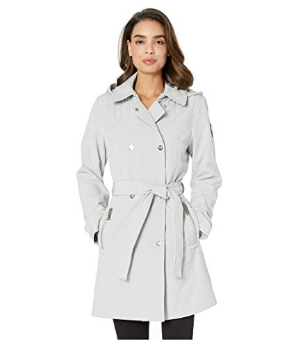 Vince Camuto Women's Double-Breasted Softshell Jacket, Silver Grey, X-Large