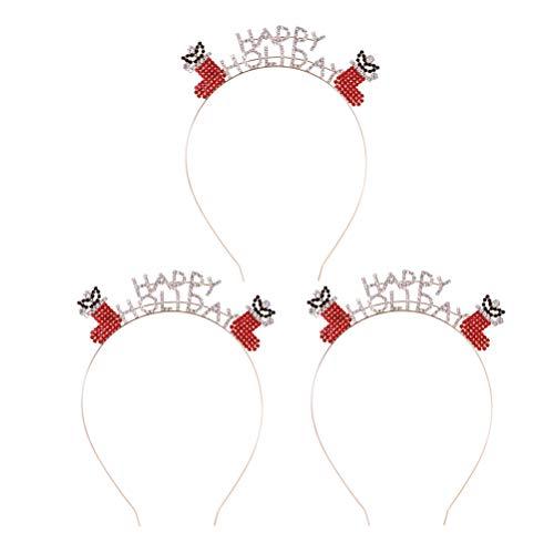 LEDMOMO 3pcs Letter Style Headdress Christmas Stockings Headband Alloy Hair Hoops Hair Accessories