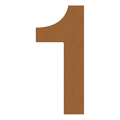 Hausnummer 1, Design Hausnummer aus Edelstahl in Rost