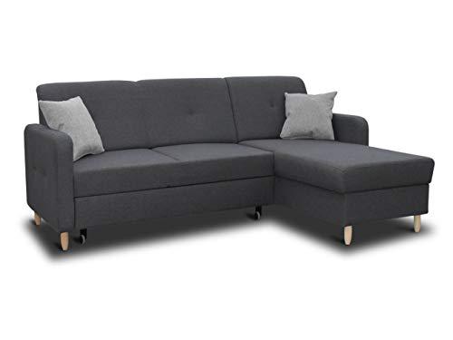 Ecksofa Oslo mit Schlaffunktion und Bettkasten - Scandinavian Design Couch, Sofagarnitur, Couchgarnitur, Polsterecke, Holzfüße (Graphit (Inari 94 + Inari 91), Ecksofa Rechts)