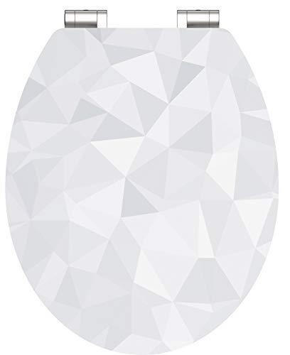 WC-Sitz - Toilettendeckel | Klodeckel mit Absenkautomatik | Hochglanz MDF Holzkern | Toilettensitz mit Muster (Diamant)