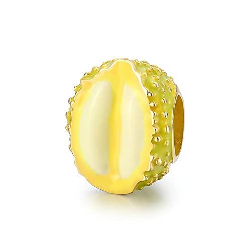 LIJIAN S925 Cuentas De Fruta De Plata Esterlina Durian Charm Charm Adecuado para Pulsera Original, Collar, Joyería DIY