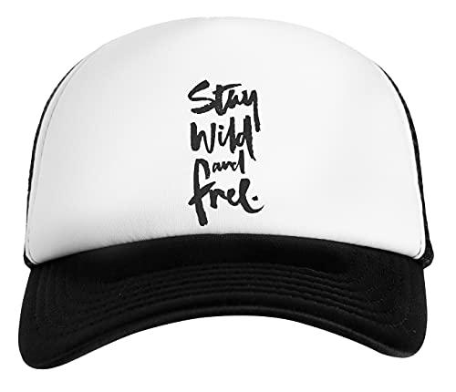 Stay Free Stay Wild Gorra De Béisbol Unisex Niños Blanca Negra White Black Kids Baseball Cap