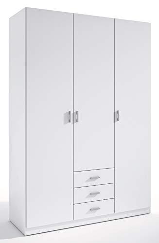 Miroytengo Armario ropero Roma 3 Puertas 3 cajones Color Blanco vestidor habitación Dormitorio 216x149x53 cm