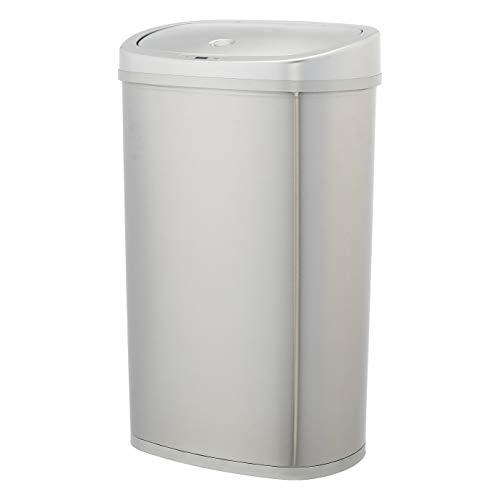 AmazonBasics Poubelle automatique en acier inoxydable - Rectangulaire, 50 litres