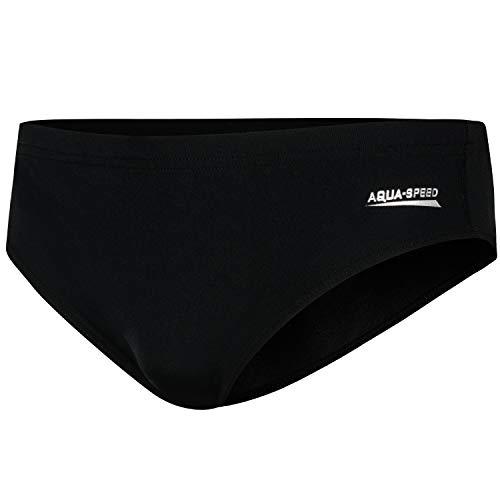 Aqua Speed Herren Badehose Slip + gratis eBook | UV Moderne Schwimmhose für Männer & Jungen | Swimwear Men | Wasserballhose | Gr. S | Schwarz | Alan