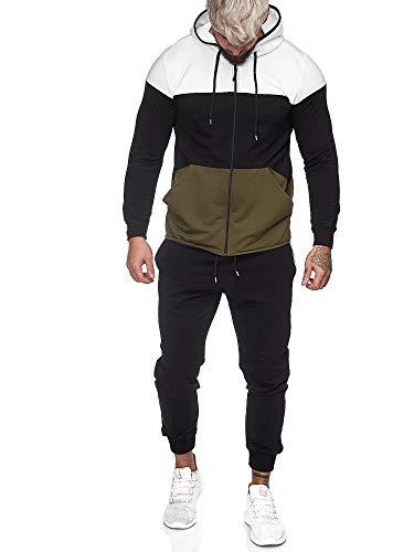 OneRedox | Herren Trainingsanzug | Jogginganzug | Sportanzug | Jogging Anzug | Hoodie-Sporthose | Jogging-Anzug | Trainings-Anzug | Jogging-Hose | Modell JG-1083 Weiss-Schwarz-Grün L