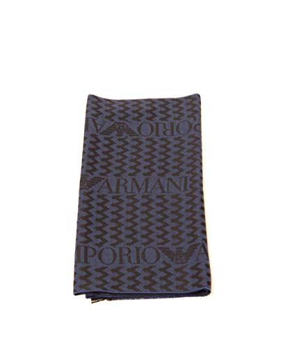 Emporio Armani Herren-Schal mit Wellen-Logo. Gr. Einheitsgröße, blau