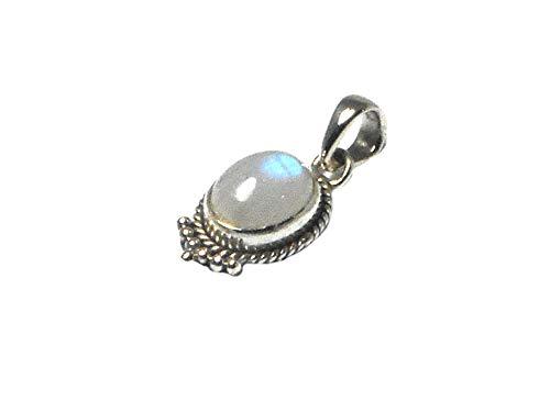 Art Gecko Fiery - Ciondolo in argento Sterling 925 con pietra di luna ovale