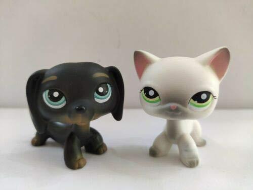 2pcs//lot Littlest Pet Shop Brown White Cocker Spaniel Dog Gray Cat LPS#125#156